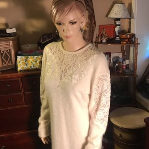 80's vintage off white angora sweater dress